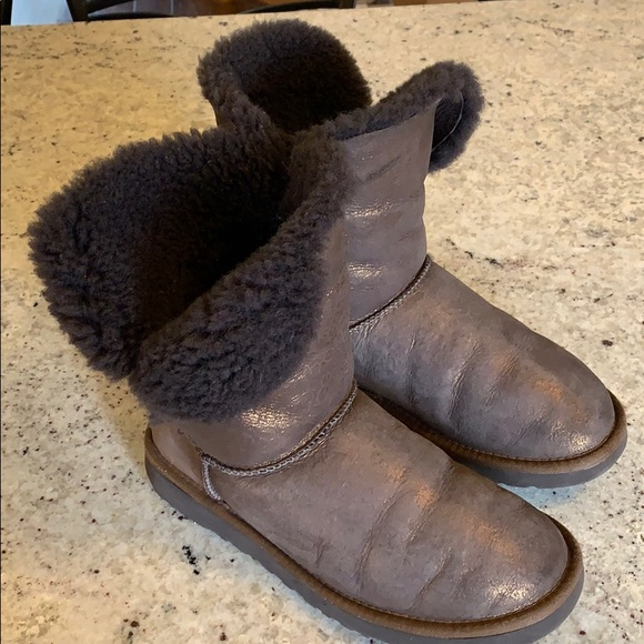 UGG Shoes - Woman's Brown Bailey Button Metallic UGG Boots